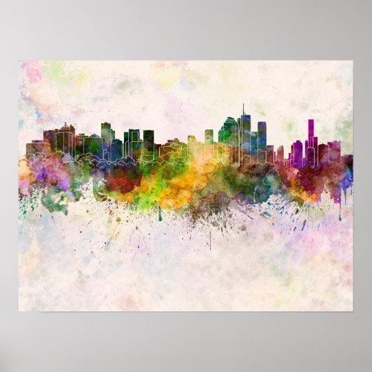 Póster Brisbane skyline in watercolor background