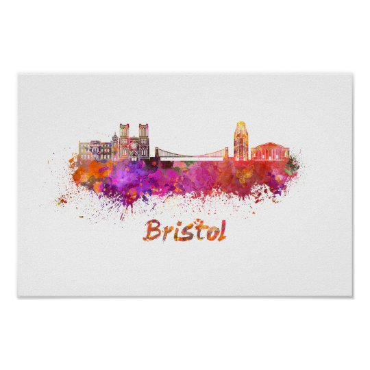 Póster Bristol skyline in watercolor