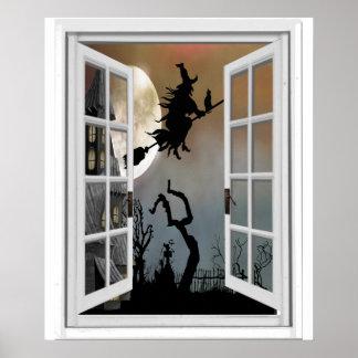 Póster Bruja en la opinión Halloween de la ventana del