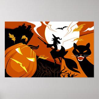Póster Bruja, palos y calabazas del feliz Halloween