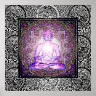 Póster Buda y árbol de la vida