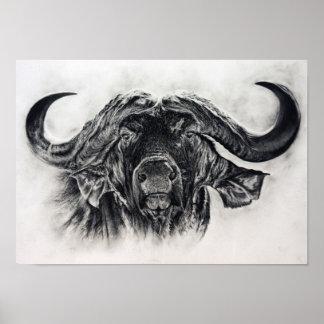 Póster Búfalo en carbón de leña