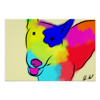 Póster Bull terrier abstracto