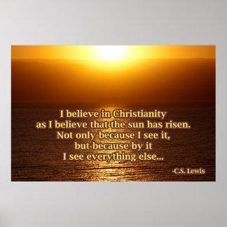 Póster C.S. Cita del cristianismo de Lewis