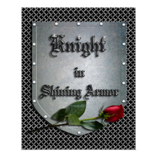 Póster Caballero en el escudo brillante de la armadura