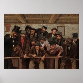 Póster Caballeros que miran un Cockfight de Horacio