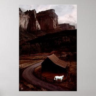 Póster Caballo blanco en el poster de Utah Canyonlands