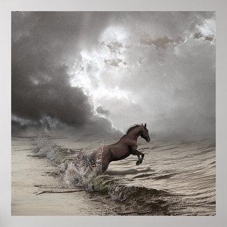 Póster Caballo en las olas, Papel fijar (mate)
