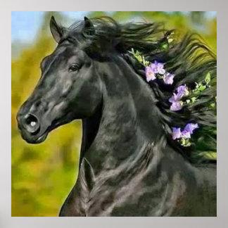 Póster caballo negro melena florecida, Papel fijar (mate)