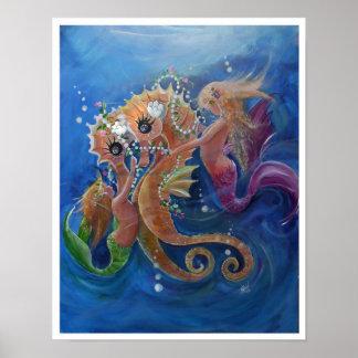Póster Caballos de mar y sirenas