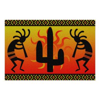 Póster Cactus Kokopelli de Sun del desierto al sudoeste