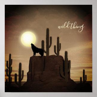 Póster cactus salvaje del desierto del grito del lobo de