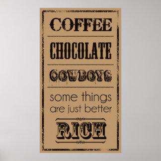 Póster Café, chocolate, vaqueros…