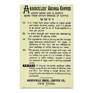 """Póster """"CAFÉ de ARIOSA del Vintage-anuncio ARBUCKLES """""""