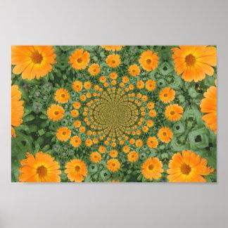 poster caleidoscópico de la flor