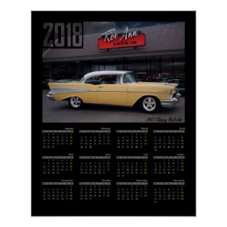 Póster Calendario clásico 1957 del coche 2018 del