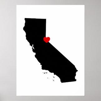 Póster California blanco y negro con el corazón rojo