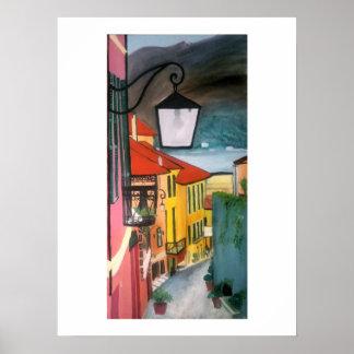 Póster Calle del pueblo en rosas, azules y amarillo
