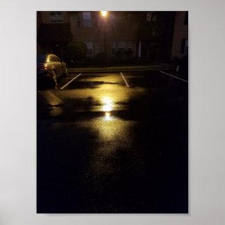 Póster Calles y luces de calle mojadas