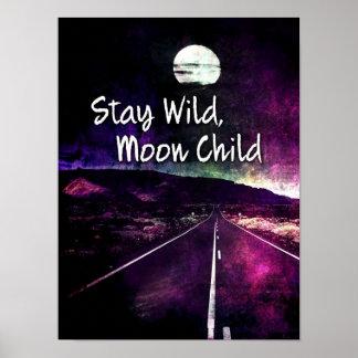 Póster Camino púrpura de la noche de luna de la estancia