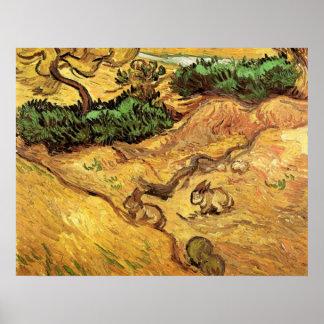 Póster Campo con dos conejos de Vincent van Gogh