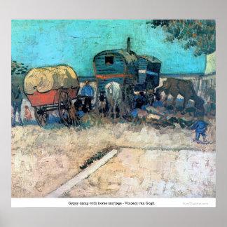 Póster Campo gitano con el carro del caballo - Vincent