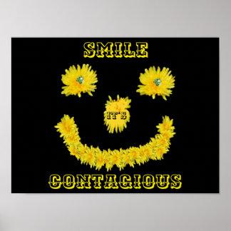 Póster Cara del smiley del diente de león