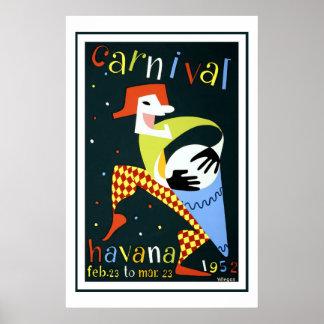 Póster Carnaval en viaje del vintage de La Habana