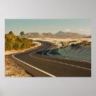 Póster Carretera con curvas en poster del desierto