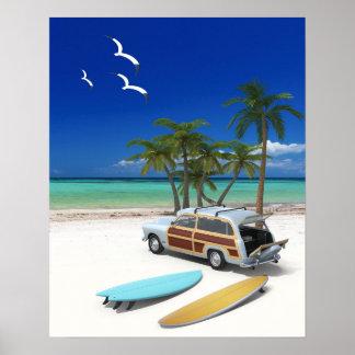 Póster Carro de la persona que practica surf