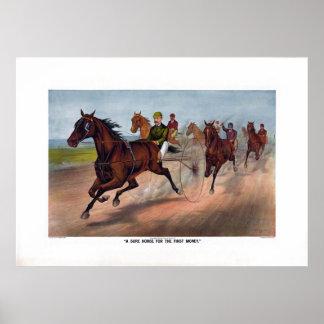 Póster Carro del caballo del vintage que compite con la