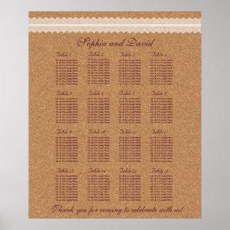 Póster Carta 16 del asiento del boda del corcho del vino