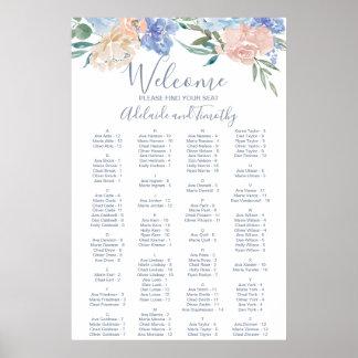 Póster Carta alfabética floral azul polvorienta del
