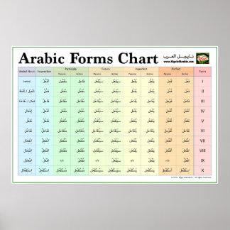 Póster Carta árabe de las formas (el verbo forma IX)