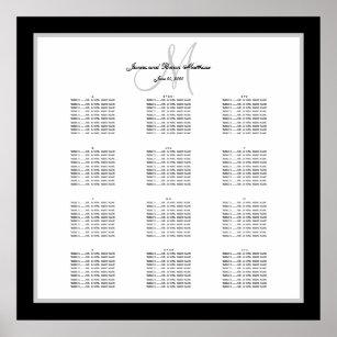 Póster Carta blanco y negro del asiento de la boda para