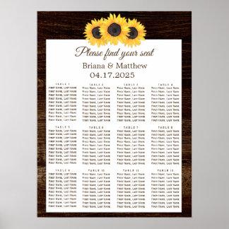 Póster Carta de madera del asiento del boda del girasol