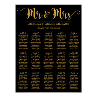 Póster Carta del asiento del boda, color de fondo