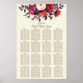 Póster carta del asiento del boda del invierno de las