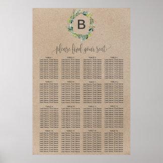 Póster Carta del asiento del monograma de la guirnalda