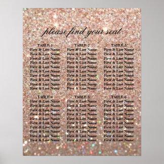Póster Carta del asiento - oro color de rosa Glit