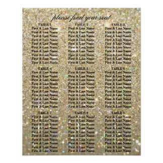 Póster Carta del asiento - oro Glit fabuloso