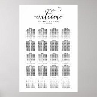 Póster Carta elegante del asiento del boda de la letra de