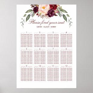 Póster Carta elegante floral roja del asiento de la boda