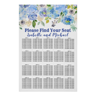 Póster Carta floral azul del asiento del boda 16-Table
