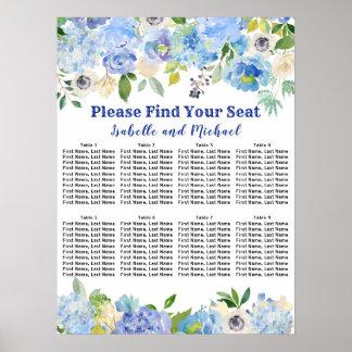 Póster Carta floral azul del asiento del boda 8-Table