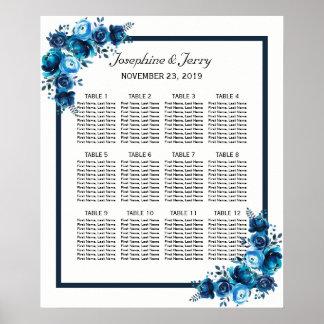Póster Carta floral azul rústica del asiento del boda del