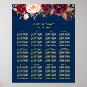 Póster Carta floral del asiento de la boda de Borgoña de