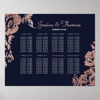 Póster Carta floral del asiento de los azules marinos y