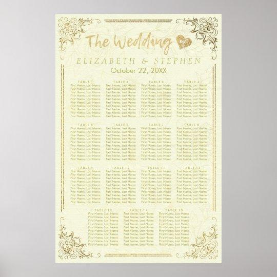 Póster Carta floral del asiento del boda del marco de la