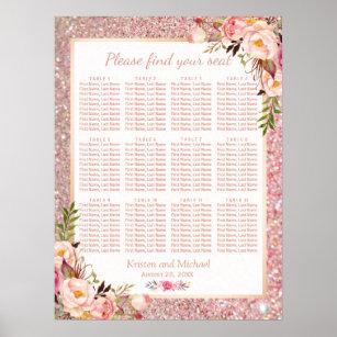 Póster Carta floral del plan del asiento de la boda del